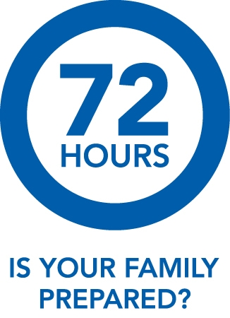 Blue circle with '72 Hours' written inside and 'Is Your Family Prepared?' written below