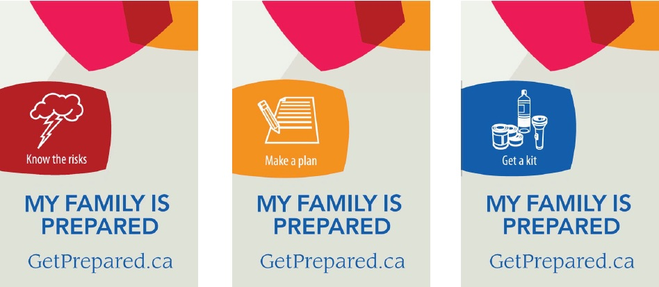Three rectangular banners reading My Family is Prepared and GetPrepared.ca